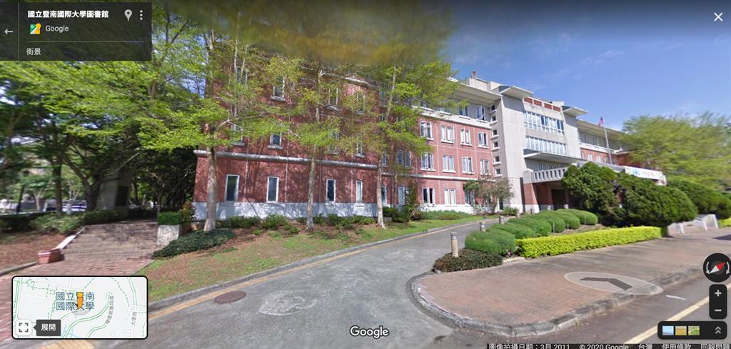 图为暨南大学图书馆的Google街景图。(摘自Google地图)